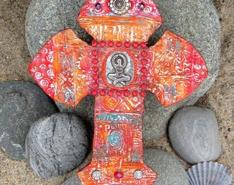 mosaic wall tile - mosaic yoga cross - mosaic wall art - mosaic spiral goddess cross - mosiac wall hanging - spiritual cross -spiral goddess