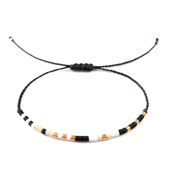 Tiny delicate bracelet Layering beaded thread bracelet string bracelet