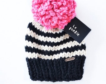 Pom pom beanie | Toddler Beanie | hat with pom pom | baby beanie | knit hat | hat with pom pom | oversized pom pom | Hot pink