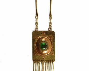 Rafael Canada - OOAK Runway Turtle Pendant Necklace - Copper Brass - Huge Fringe Statement Jewelry - Handmade Studio Craft - Vintage 70s