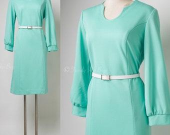 Mod Dress, Vintage Mint Green Dress, Vintage Green Dress, 60s Dress, 60s Shift Dress, Mad Men Dress - L/XL