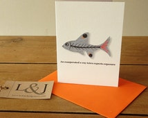 Xray tetra card - fish card - grey - fishing gift - animal illustration - ocean creature - fishing - under the sea - nautical home decor