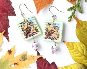 Owl Earrings - Owl Postage Stamp Earrings, Vintage Postage Stamp Jewelry, Snail Mail Gift, Snail Mail Jewelry, Owl Postage, Owl Jewelry