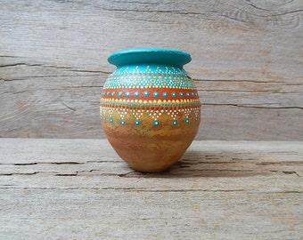 vintage hand painted pottery vase  small decorative terra cotta bud vase  dot paint art  rustic southwestern decor