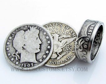 Barber Half Dollar Coin Ring, SILVER, Unique Engagement Ring, Wedding Ring, Coin Jewelry, Mens, Band, Mans, Rings, Gift