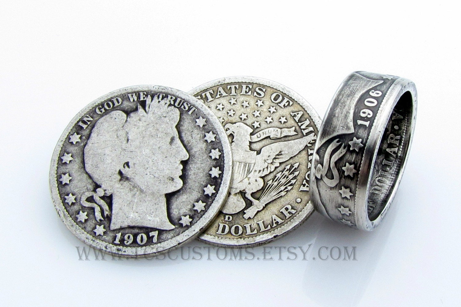 Barber Half Dollar Coin Ring SILVER Unique Engagement Ring