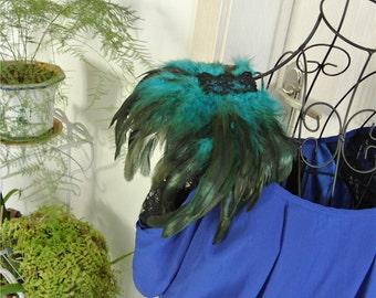 Handmade 1 pair turquoise feather epaulette pad Carnival feather shoulder shawl cape burning man festival epaulettes