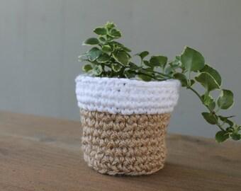 Small Crochet Plant Holder, Crochet Plant Holder, Crochet Basket, Colorblock Basket