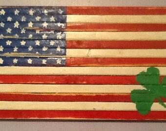 Small Irish American Wood Flag