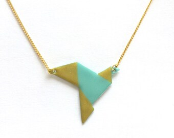 Origami golden bird pendant and white/blue/pink or mint