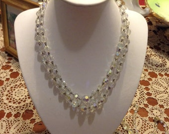 Vintage two strand  1950's aurora borealis crystal necklace