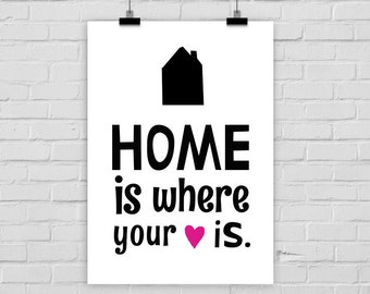 print poster HOME IS where your HEART is