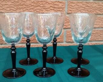 Set of 6 Cristal D'Arques-Durand ONYX Wine Glasses Black Stem France