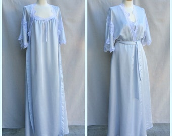 70s Dior Peignoir | Miss Dior Nightgown and Robe | Pale Blue & Lace Dior Set