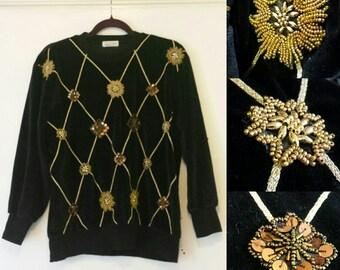 Vintage 1980's velvet embellished sweater/jumper