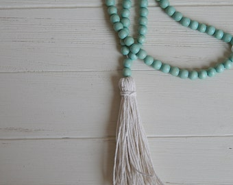 SALE Long bead necklace with seafoam wood beads and cotton hemp tassel, bohemian style, beach boho, summer, layering, neutral, beachy