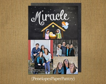Rustic Christmas Photo Card,Nativty Theme, Miracle,Up to 4 Photos,Chalkboard,Customizable,Opt Back Print,Includes Envelopes, 5x7 Size