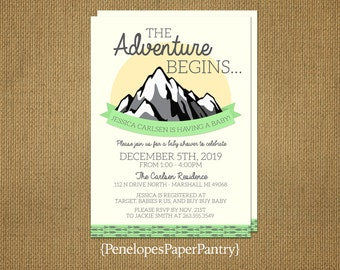 Gender Neutral Baby Shower Invitations,Adventure Theme,Mountains,Ivory,Mint Green,Yellow,Printed Cards,Customizable,With White Envelopes