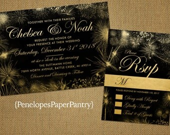 New Year's Eve Wedding Invitation,Elegant Black and Gold,Festive Gold Firework Bursts, Sparkles, Shimmery, Customizable With Black Envelopes