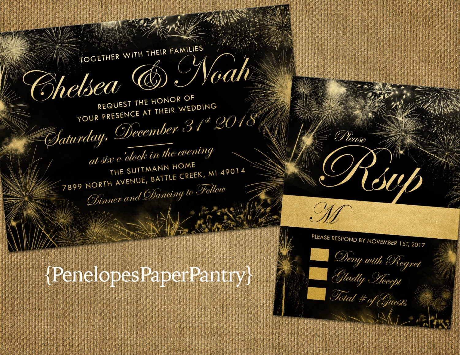 New Years Eve Wedding Invitation: New Year's Eve Wedding InvitationElegant Black And