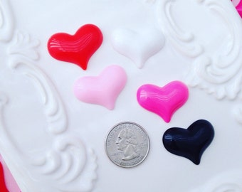 Mix 5pc Resin Heart Cabochons lot #025
