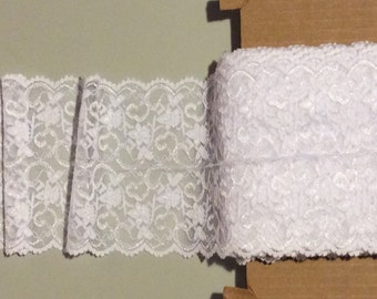 "Whisper White Floral Stretch Lace Trim * Sold by the Yard *  6"" Wide * 4-way Stretch"