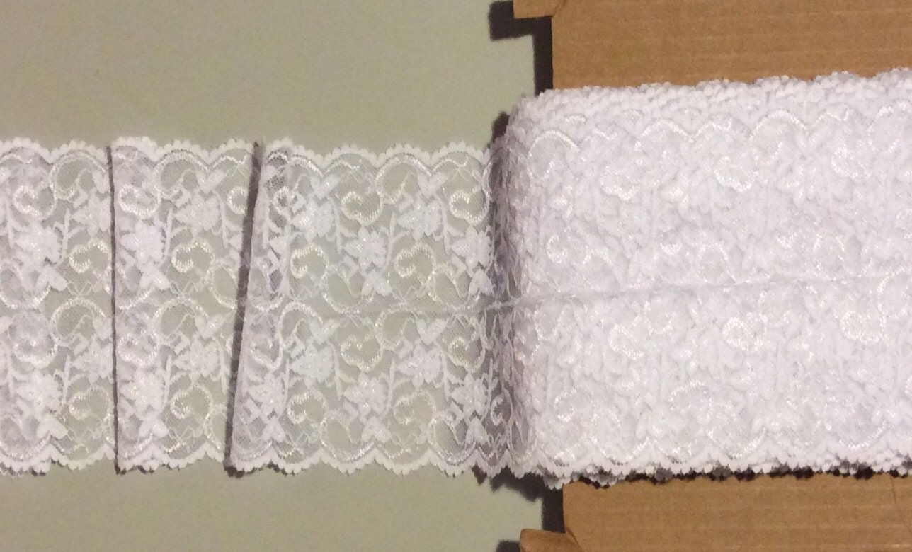 Whisper White Floral Stretch Lace Trim Sold by the Yard