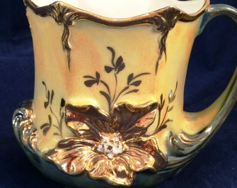 Yellow to  Green lustre ware cup mug with gold flower