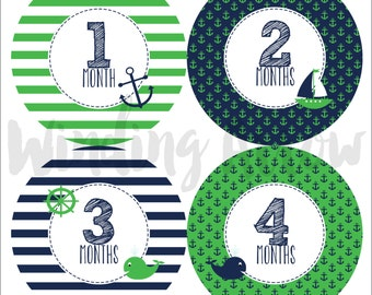 Baby Month Sticker Baby Boy Monthly Milestone Stickers Baby Shower Gift First Year Belly Stickers 12 Months Green Navy Nautical Monthly