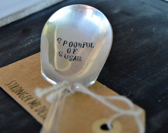Spoonful of Sugar Handstamped Silver Plated Coffee or Tea Spoon