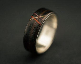 Ebony bentwood ring, makassar ebony wood ring lined with sterling silver and with thin inlays from other wood species