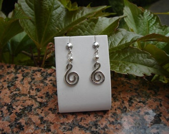 Silver earrings with spiral, Silver 925, plug