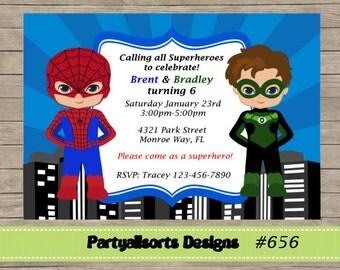DIY - Spiderman and Green Lantern Superhero Invites