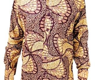 Kitenge African Wax Print Men's Long Sleeve Shirt