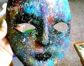 Galaxy paper mache mask, astronomy bookshelf decor, cosmic art, outer space dorm decor, hippie gifts, nerdy boyfriend gift, psychedelic art