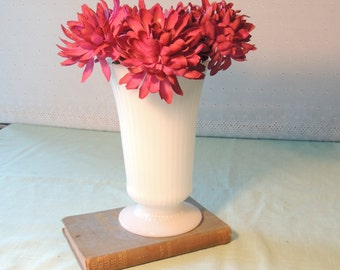 Vintage E.O. Brady Ribbed Milk Glass Pedestal Vase