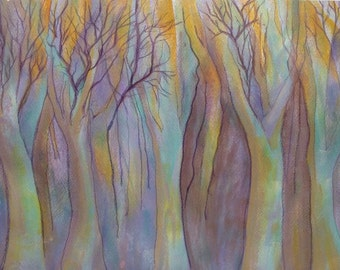 Purple Haze ( Trees in mist ) - Original Acrylic Painting
