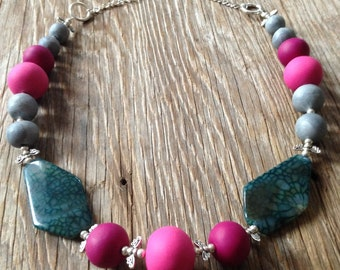 Firefly - Handmade Pink & Green Statement Necklace