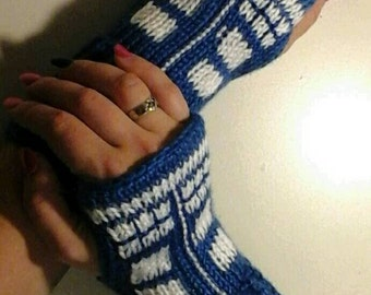 Fingerless Gloves Wrist Warmers Dr. Who Tardis Adult Sizes