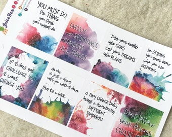 Set of 8 Motivational Fitness Quote Stickers