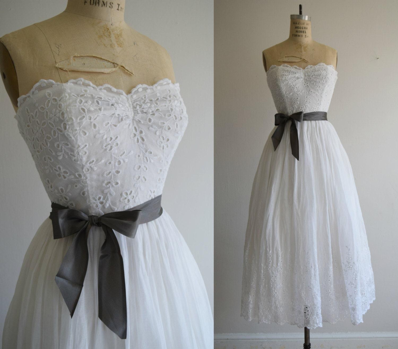 Vintage 1940s White Eyelet Strapless 1940 39 S Wedding Dress