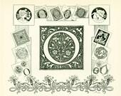 1897 Letter O, French Larousse, Alphabet Chart, Alphabet primer, O initial, Letter pattern, 115 years old