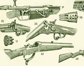 1897 Large Size Guns and firearms, Historical Antique Print, Larousse  115 Years, Wall Art