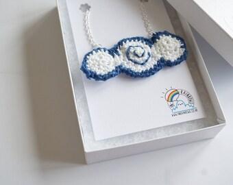 Crochet cloud necklace