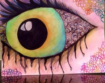 Abstract Eyeball Wall Decor, Colorful Watercolor Artwork Print