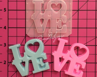 Love word with heart flexible plastic resin mold ( 2 options)