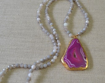 One Of A Kind Pink Druzy Necklace