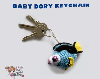 Crocheted baby dory keychain