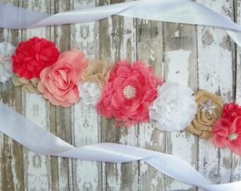 Beach Wedding Sash, Coral Peach Sash, Starfish Wedding Belt, Beach Bridal Belt, Coral Bridal Sash, Maternity Sash, Bridesmaids, Flower Girl