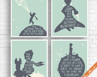 The Little Prince - Imagination Quotes - Set of 4 Art Prints (Unframed) (Featured River Rock, Soft Cream on Shell) Outer space Travel Art